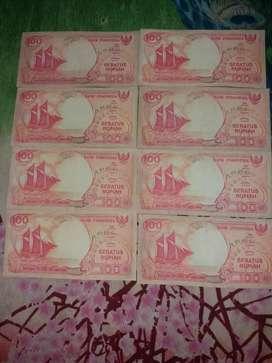 Uang kuno kertas 100 rupiah tahun 1992 jaman dulu