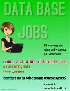 Online Data Entry Operators  Home Based work for males and females