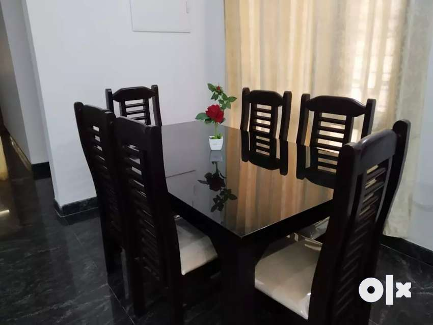 6 seater wooden dining table set 0