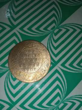 One rare old indian one quarter anna rupees 1908 for sale