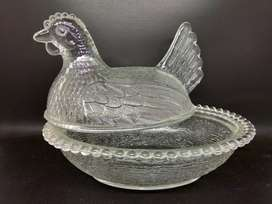 Mukun Wadah Antik Ayam Besar Transparan