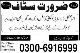Part time, full time and home base job (Students /Teachers