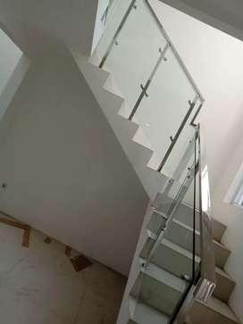 Railing tangga stainless + kaca #1620
