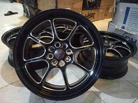 jual velg racing type PROJECT Ring17X7 pcd8X100/114,3 ET40 black polis