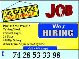 Only Few Seat are Available Home Based Data Entry Jobs /Typing Work