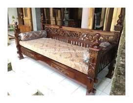 bale bale jati, daybed kayu ukir minimalis jepara kf-9483
