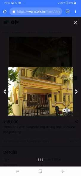 Ground floor East facing 3BHK with car parking house for rent