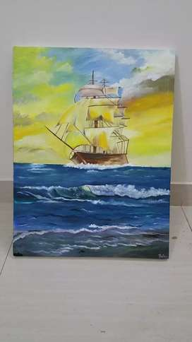 Sail boat oil painting