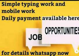 Home based mobile and typing work with daily payment