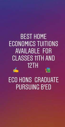 BEST HOME ECONOMICS TUITIONS FOR CLASSES 11TH AND 12TH.