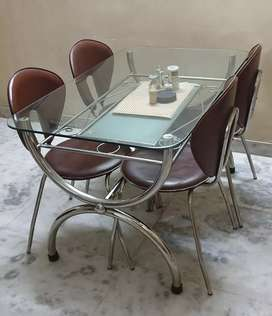 Glass top double tire dinning table