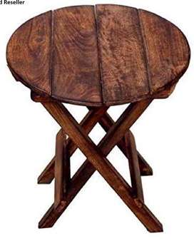 Wooden round foldable stool