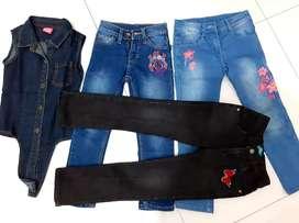 Sekaligus 3 celana jeans anak perempuan plus 1 kemeja denim