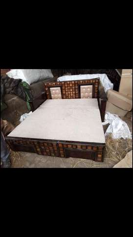 SOFA CUM BED WITH FULL SAGWAN WOOD DESIGNER DOUBLE BED SIZE WITH FULL