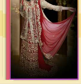 Bridal dress with fully embroided tail & havey 1sided emBroided dupata