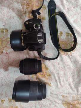 Nikon d3200 with three lenses and extra battery
