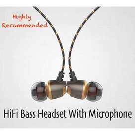 Metal Bass Stereo Earphone Gaming Headset With Microphone