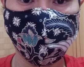 Masker Kain Batik Premium Hitam - 3 Lapis + Bisa Lapis Tisue / 4 Lapis