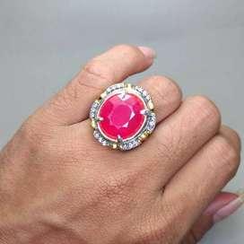 Cincin Batu Permata Merah Delima Ruby Cutting