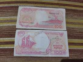 Di jual uang kertas 100 rupiah tahun 1992
