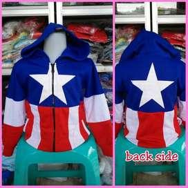 Jacket Anak Captain America Kapten Amerika Jaket Biru Bintang