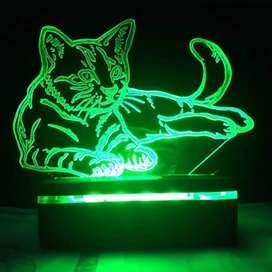 """Lampu Malam Efek """"Kucing"""" - """"Cat"""" LED 3D - 3D Illusion Lamp"""