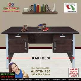 Meja Tulis Kerja Kantor 160cm Kaki BESI Model Modern Minimalis Mewah .