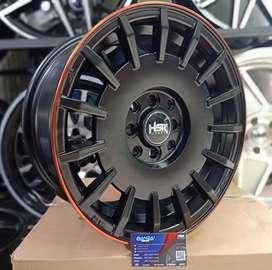 Velg Mobil Racing HSR RALLY Ring 15 Lubang 8X100-114,3 ET 38 Black Red