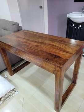 Computer table, solid teak finish