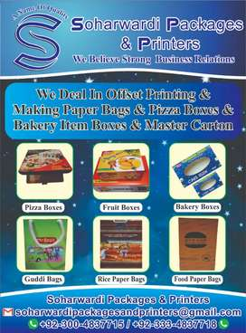 Deal in off set printing paper bags pizza & bakery boxes master carton