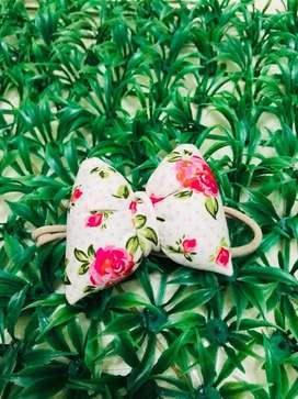 Headband baby puffy bow pink nylon