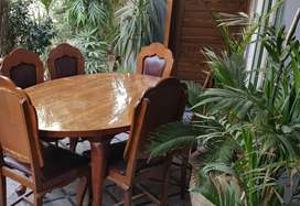 Wooden Dining Table (6 Chairs)