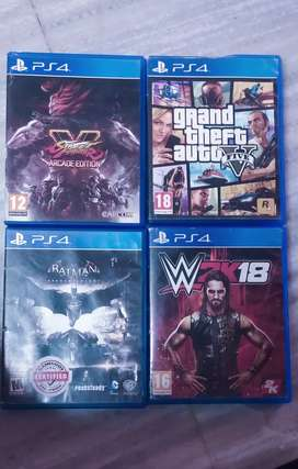 PlayStation 4 games (pre-owned),Gtav,wwe2k18,fifa18, street fighter