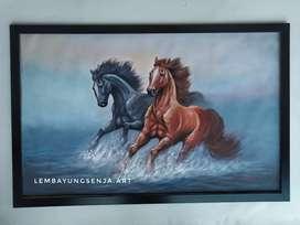Lukisan sepasang kuda berlari media kanvas cat oil ukuran 135 x 85 cm