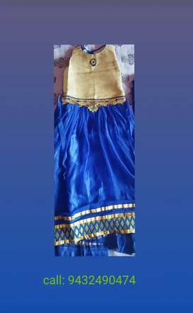 Ethnic Party Gown-\ blue golden shaded\