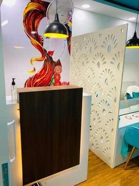 Salon chair and nail art setup