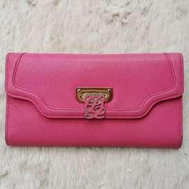 Dompet import eks Louis Quatorze pink kulit asli tebal kokoh ad no sri