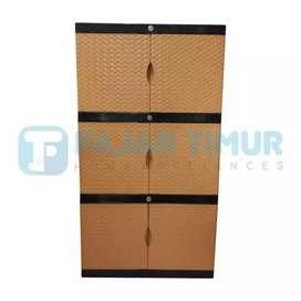 Gratis ongkir bjm - Lemari plastik 3 tingkat / 6 pintu full kunci