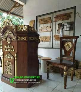 Mimbar podium masjid agung khutbah Jum'at kayu jati