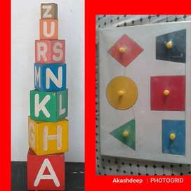 ABCD Woodn Box  Rs. 400  Counting Beads  Rs. 200 Shapes Board  Size 9