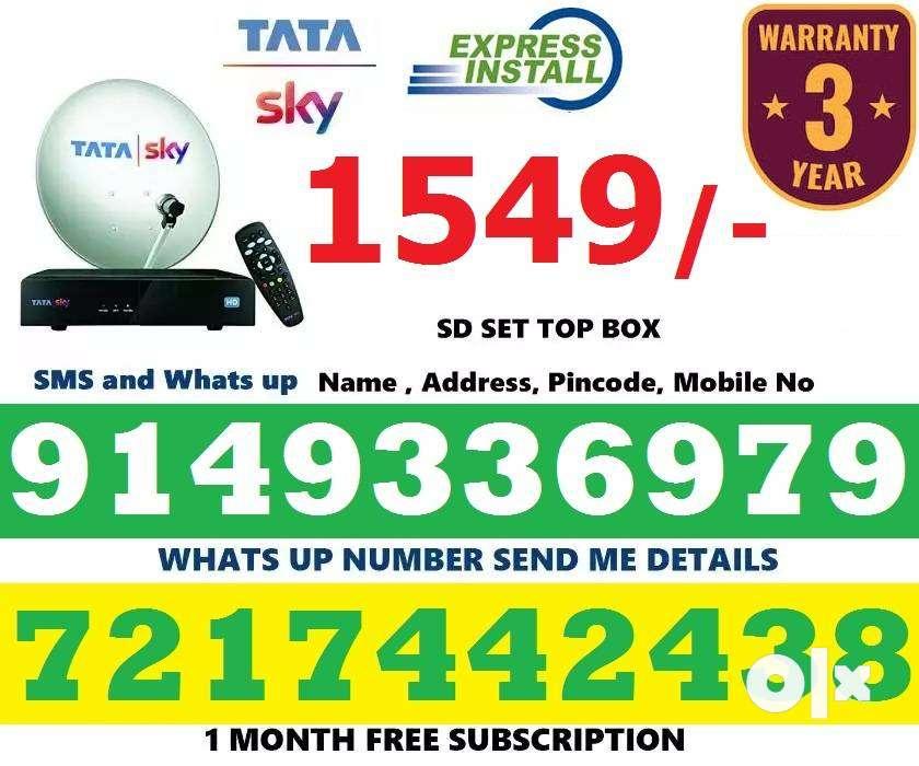 Tata Sky New DTH tatasky Dish tv Box SD/ HD (Free Installation)-CODThe 0