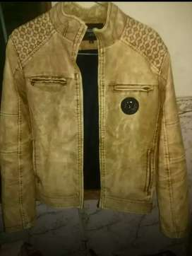 Light yellow with brown shades men's leather jacket