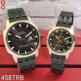 Jam Tangan Couple Sepasang Rolex Tanggal Aktif Rantai Black Gold