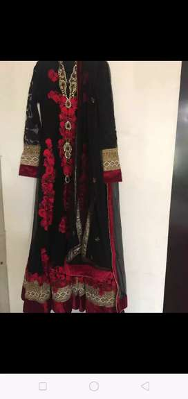Black Red heavy embroidery Anarkali suit Indian wear