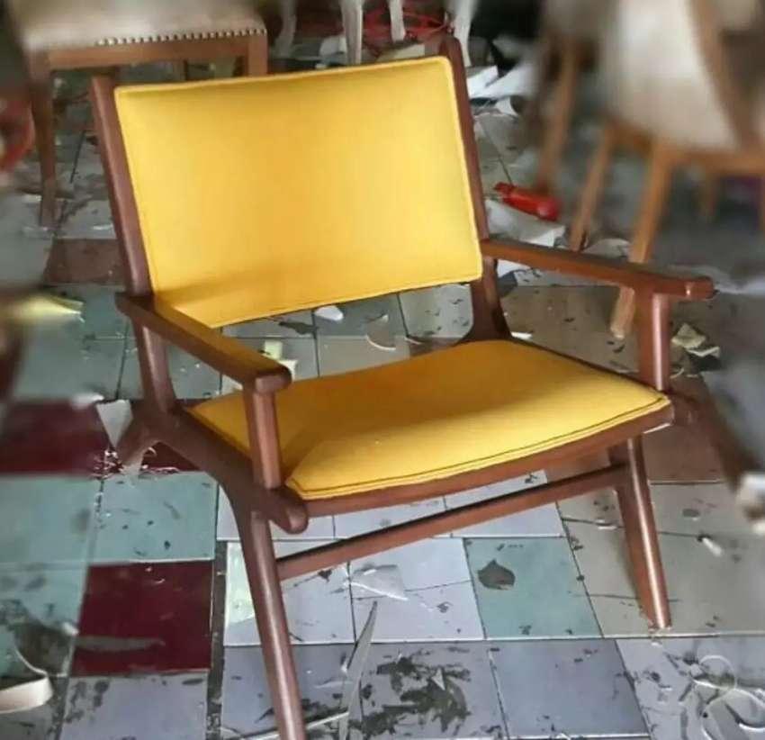 Jual kursi retro, kayu jati finis natural, 1 kursi + busa, freeongkir 0