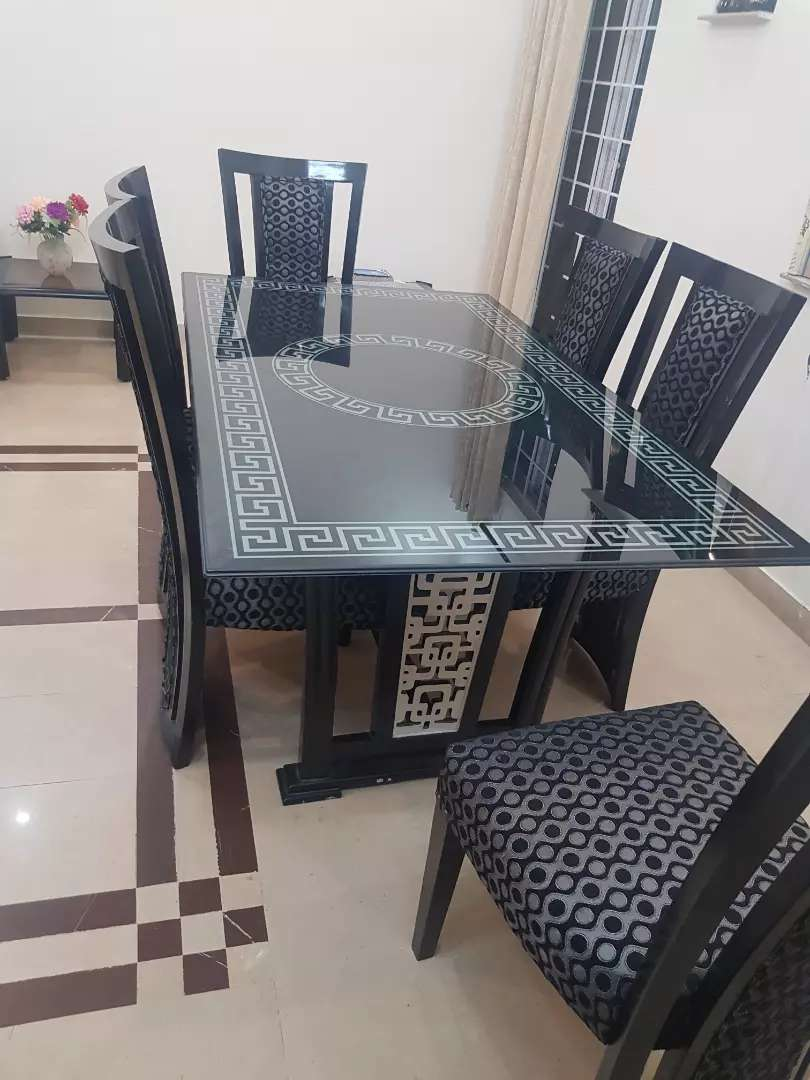 Black and silver dining table set 0