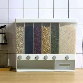 10KG Wall Mounted Divided Rice and Cereal Dispenser 6 Moisture Proof