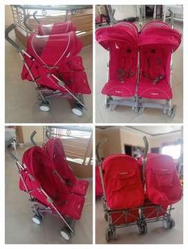 Dijual Stroller Bayi Kembar Merk Baby Elle Twin Trevi Red