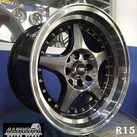 Velg celong Agya Ayla ring 15 lebar 7/8,5 tipe Kobror HSR black polish