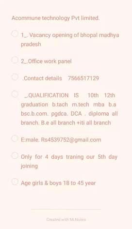 Acommune technology  Ltd bhopal